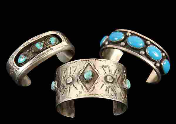 (3) BRACELETS - Group of (3) Native American Crafted