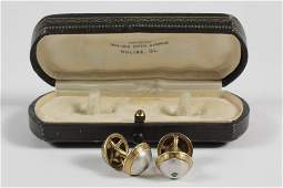 GENTS CUFFLINKS  Pair of TwoTone 14K Gold and
