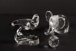 "(4) ART GLASS PAPERWEIGHTS - Including: 6"" Steuben"