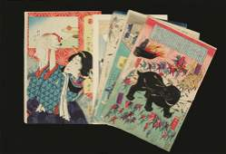 GROUP OF 14 RARE JAPANESE WOODBLOCK UKIYOE PRINTS