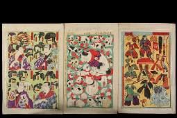 GROUP OF 5 RARE JAPANESE WOODBLOCK UKIYOE PRINTS