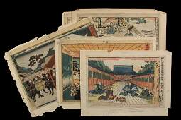 GROUP OF 6 UKIYOE WOODBLOCK PRINTS  Kuniyoshi III