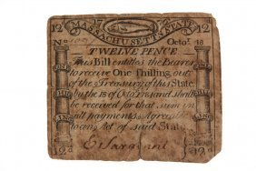 Framed Massachusetts Currency - October 16, 1778 Paul