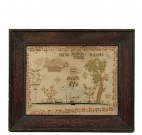 "Framed Sampler - Sampler Marked ""sarah Roberts, Malkin"