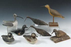 (8) Assorted Shorebird Decoys - Late 19th To Early 20th