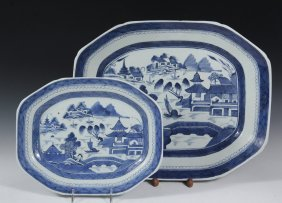 (2) Chinese Porcelain Platters - 19th C. Canton Export