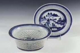 (2 Pcs) Chinese Porcelain - 19th C. Canton Export Blue