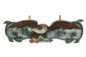Ship's Sternboard - 20th C. Carved And Painted Pine
