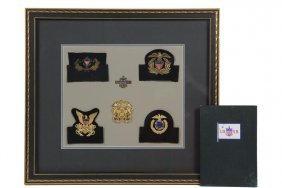 Framed Collection Of Rare Us Maritime Insignia & Book -