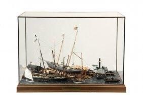 """Cased Marine Diorama - """"launching Day - Schooner Yacht"""
