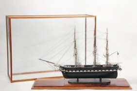 Cased Ship Model - Early 20th C. Full Model Of A