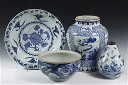 4 PCS CHINESE EXPORT PORCELAIN  All 19th c Blue and