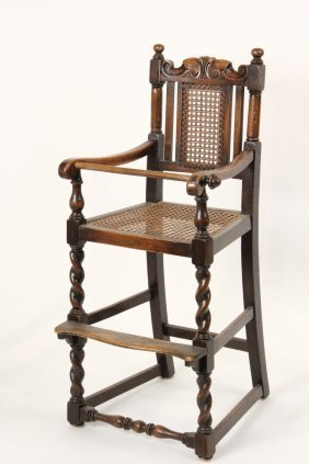 English Oak Youth High Chair - Jacobean Style, 19th C,