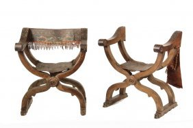 Pair Of Italian Court Chairs - 17th C Walnut Curule Or