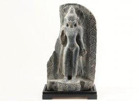 Ancient Sri Lankan Stone Sculture - Black Basalt Stele