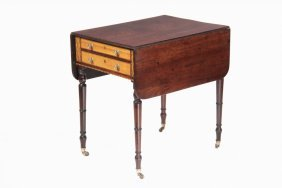 Sheraton Work Table - 19th C. Drop Leaf Table With