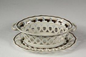 English Soft Paste Basket & Underplate - Stevenson
