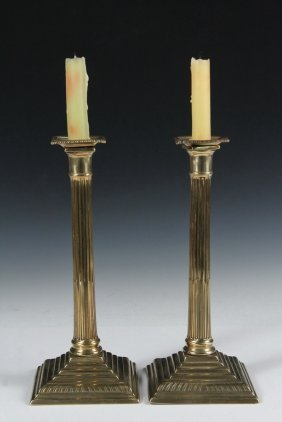 Pair 18th C Brass Candlesticks - English George Iii