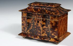 Tea Caddy - Georgian English Tortoiseshell Tea Caddy,
