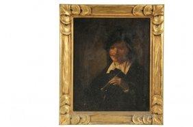 19th C Student Copy - Rembrandt Self Portrait, Oil On
