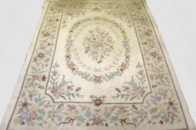 """Carpet - 8'5"""" X 11'3"""" Floral Pattern, Hooked, Ivory"""