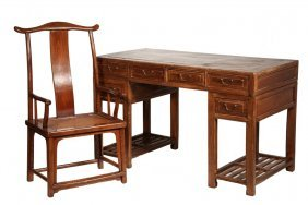 Chinese Desk And Chair - 19th C. Three-piece Huanghuali