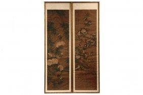 Pair Of Chinese Scrolls - Qing Dynasty, Emperor Kangxhi