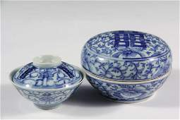 (2 PCS) CHINESE PORCELAIN - Miniature Covered Rice Bowl