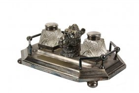 Silverplate Figural Inkwell - Late 19th C French
