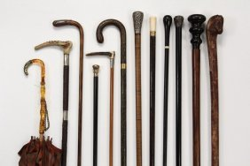 Collection Of (12) Canes, Walking Sticks, & Etc - All