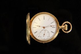 Lady's Pocket Watch - Victorian Hunter Case 18k Yellow