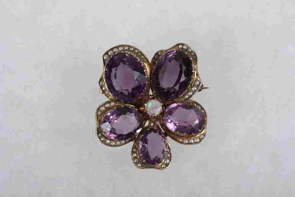 BROOCH - Antique 14K Yellow Gold & Russian Amethyst