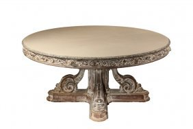 Ornate Banquet Table - Carved And Pickled Oak Round