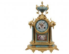 French Mantle Clock - Japy Freres Gilt Bronze Clock