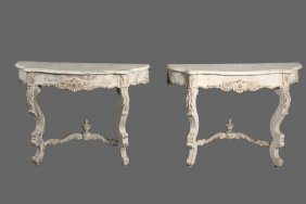 Pair Of Console Tables - Carved And Whitewashed