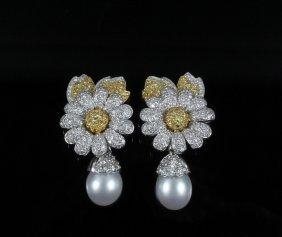 Earrings - 18k Diamond & Pearl Earclips. Beautiful
