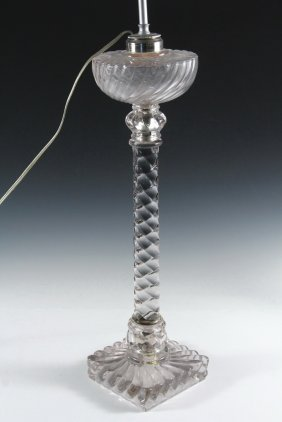 Glass Banquet Lamp - Fostoria Queen Anne / Colony