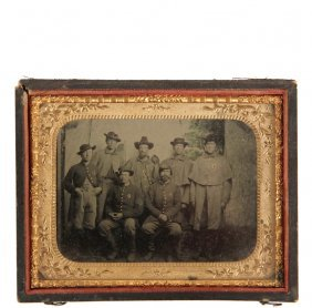 Civil War Photograph - Hand Colored Tintype Of Seven