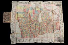 "Rare Pre-civil War ""western"" U.s. Pocket Map - ""ensign,"