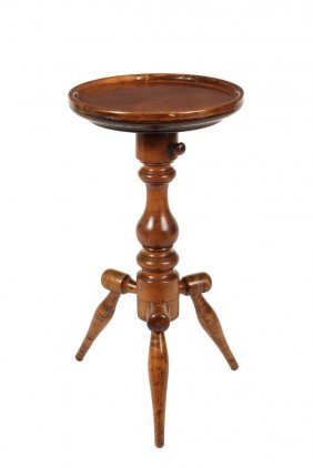 Windsor Candlestand - Solid Curly Maple Stand With Bold