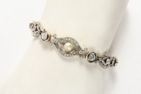 Bracelet - Edwardian 18kt Gold, Platinum, Diamond And