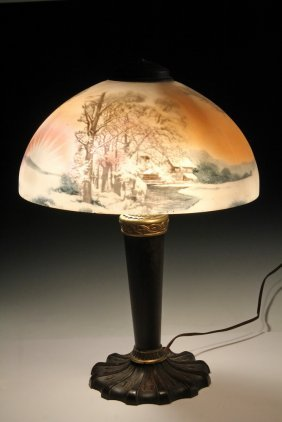 Reverse Painted Table Lamp - Reverse Glass Pittsburgh