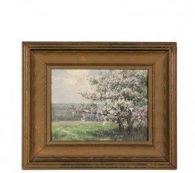 American Impressionist Landscape - Apple Blossoms, Oil