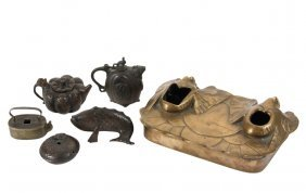 (5) Japanese Bronze Water Droppers & Inkwell - Early