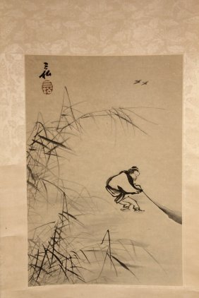 Japanese Scroll - Man Fishing Near Bamboo, Ink On