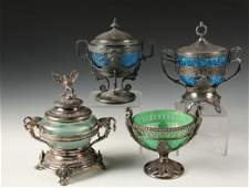 4 FANCY SILVER PLATE AND GLASS CANDY DISHES  All