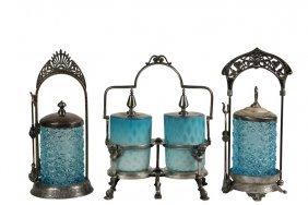 (2) Victorian Silver Plate & Glass Pickle Castors & (1)