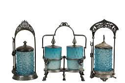 2 VICTORIAN SILVER PLATE  GLASS PICKLE CASTORS  1