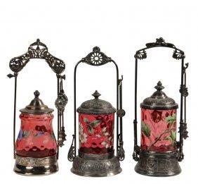 (3) Victorian Silver Plate Pickle Castors - Singles