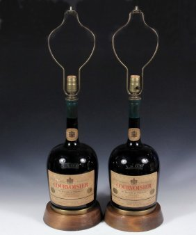 Pair Of Lamps From Cognac Bottles - Electric Table